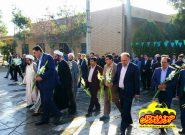 غبارروبی گلزار شهدای فلاورجان به مناسبت هفته دولت / تصاویر